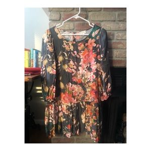 Anthropologie meadow rue drop waist floral tunic